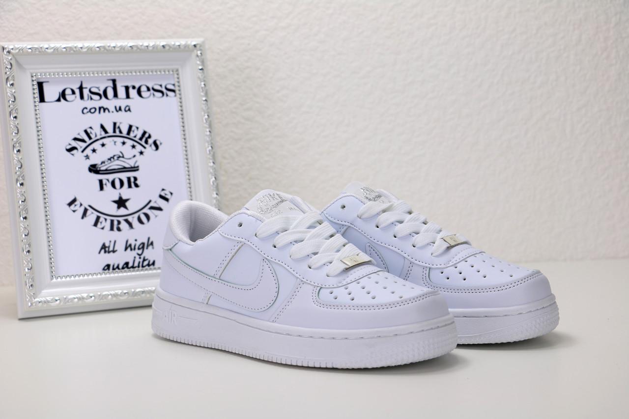 Женские белые кожаные кроссовки Nike air force 1 low, найк еир форс реплика