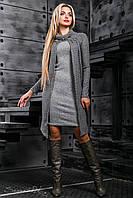 Стильное женское платье, вязаный трикотаж, серый, размер 44-50