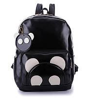 Большой черный рюкзак панда с брелком