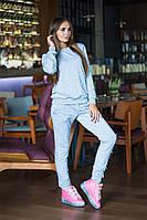 Женский серый спортивный костюм с бусинами - жемчугом В30275