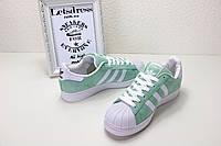 Женские оригинальные салатовые кроссовки, кеды  Adidas Superstar Olive ( Адидас суперстар ) , фото 1