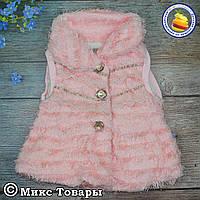Розовая жилетка из искусственного меха для малышей Размеры: 2-3-4 года (5671-2-1434)