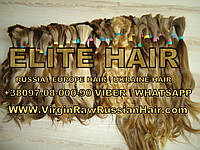 Волосы натуральные в срезах хвостах Славянские 55 см   70 грамм