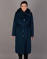 Зимнее длинное женское пальто, ворсовой кашемир 50-60рр,  морская волна