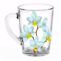 Стеклянная кружка Капучино Белая орхидея на 300 мл Gallery Glass 85002747