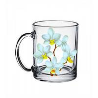 Стеклянная чайная кружка Белая орхидея на 300 мл Gallery Glass 85002751