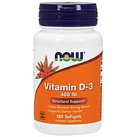Витамин D-3, Vitamin D-3 400 IU Now Foods, 180 softgel