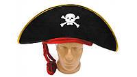 Шляпа пиратская Черное и красное
