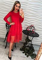 Стильное трикотажное платье длинный рукав с органзой тренд 2017