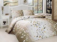 Полуторный комплект постельного белья First Choice Leaf Kahve