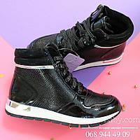 Высокие демисезонные кроссовки черные лаковые для девочки тм tomm р. 34,35