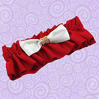 Подвязка для невесты красная с бантом