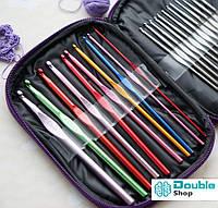 Набор крючков для вязания в чехле, 22 алюминиевых крючка, разноразмерные
