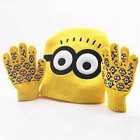 Детская теплая шапка + перчатки Миньон, Унисекс