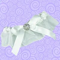 Подвязка для невесты атласная белая с бантом
