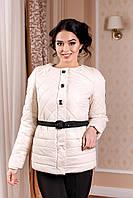 Женская демисезонная молочная куртка В-960 Лаке Тон 25 44-54 размеры