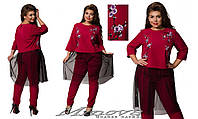 Женский нарядный костюм туника на пуговицах с удлиненной спинкой Размеры:50,52,54,56,58