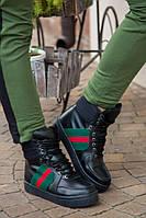 Теплые женские короткие ботинки из натуральной кожи с натуральным мехом Gucci В30279