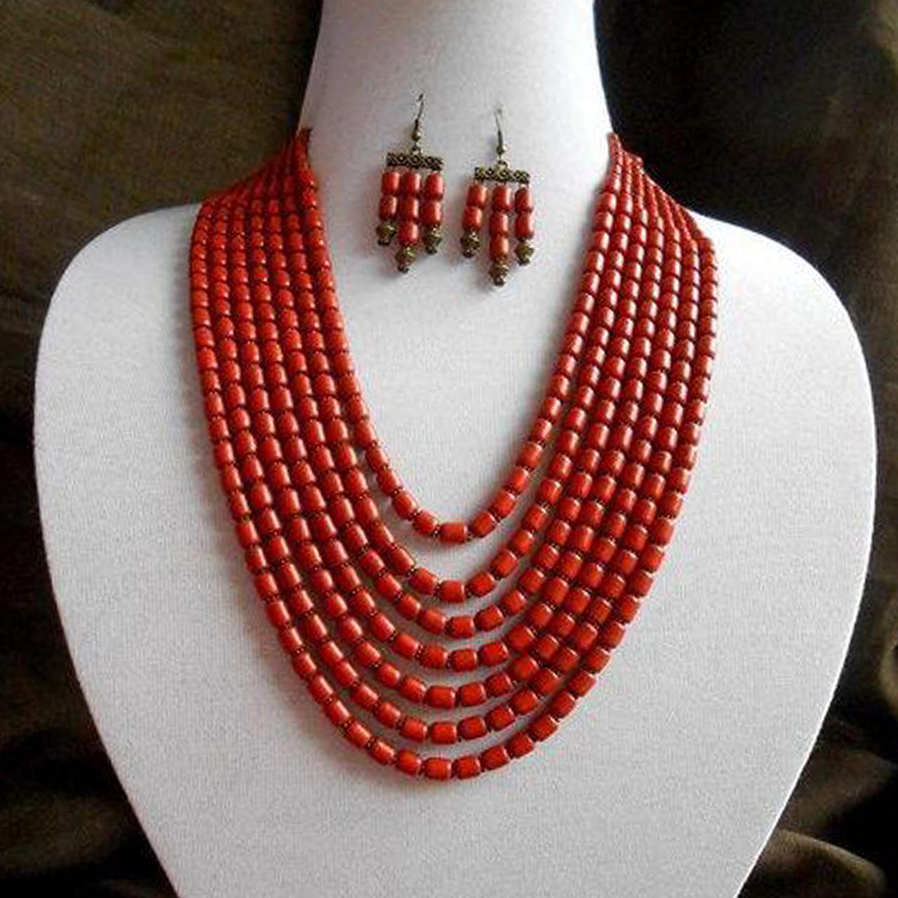 Керамическое ожерелье и серьги
