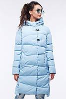 Стильное длинное стеганое пальто прямого силуэта