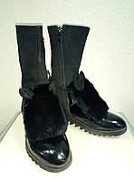 Ботинки черные с натуральным мехом. 37р.