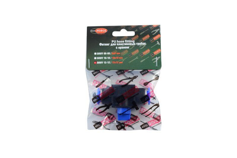 Фитинг для пластиковых трубок с краном 10x10мм