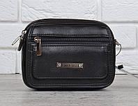 Сумка мужская барсетка черная с длинной ручкой Ctr Bags напоясный ремень, Черный