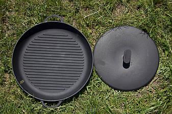 Чугунная сковородка-гриль 340х40 с прессом, фото 2