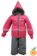 Зимний термокомплект куртка, полукомбинезон и рукавицы для девочки