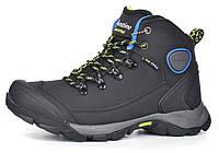 Ботинки зимние термо кожаные трекинговые черные с защитой, Черный, 37