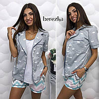 Пижама женская стильная и костюм для дома тройка - майка, шорты, пиджак