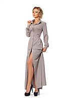 Платье сафари длинное серое