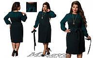 Платье женское евро-костюмка рукава и вставки из креп-шифона Размеры:48, 50, 52, 54, 56, 58