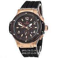 Мужские наручные часы Hublot Big Bang Automatic Black-Gold-Black, механические часы с автоподзаводом Хублот
