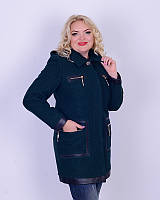 Пальто ровное с капюшоном 44-46р темно зеленый