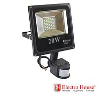 Прожектор светодиодный 20W 2000lm с датчиком движения ElectroHouse холодный белый