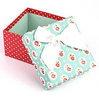 Подарочная коробочка мятная с цветочками 9.5 x 9.5 x 5.8 см, фото 1