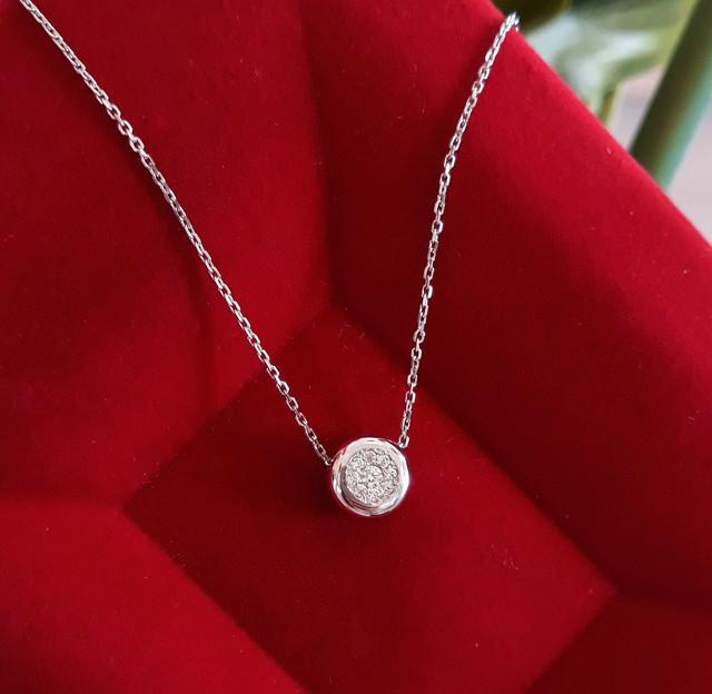 Серебряное колье серебряная цепочка с одним камушком картинка 4