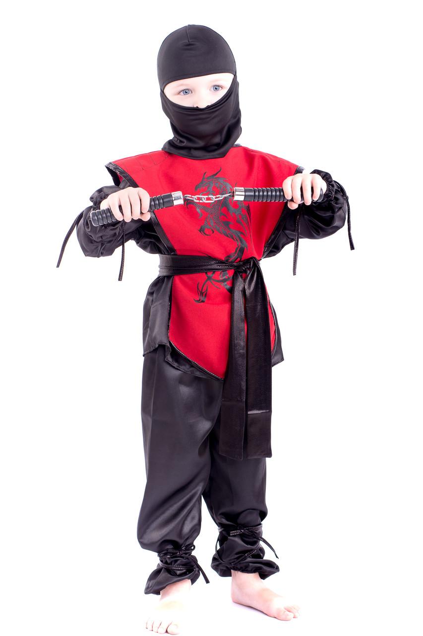 Красивый карнавальный костюм Ниндзя красный