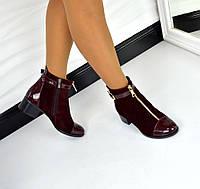 Демисезонные ботиночки STIL натуральная замша, носочек лак, внутри байка цвет марсала
