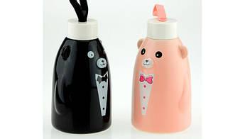 Термобутылка  Gentle Bear черная ( бутылка медвежонок )