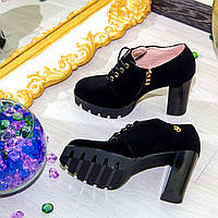 Туфли на шнурочках рабочая молния цвет: черный материал: эко - замш