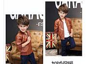 Коричневая куртка для мальчика, материал кожа PU