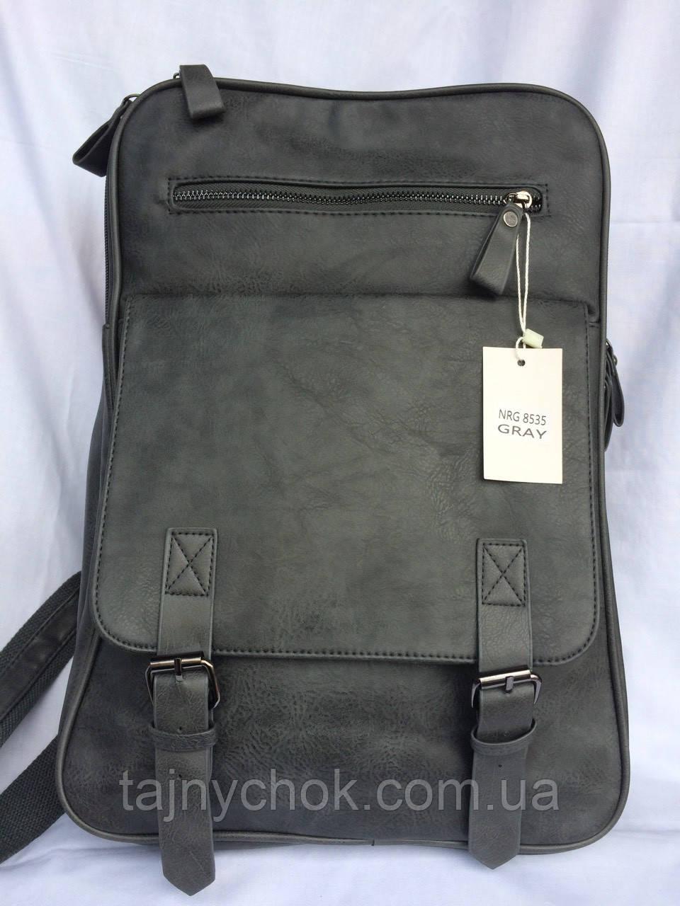 Рюкзак серый кожзам, фото 1