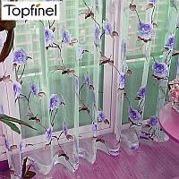 Тюль с рисунком Органза Цветущая роза (синий)