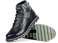 Кожаные мужские черные зимние ботинки на меху Mida 14725