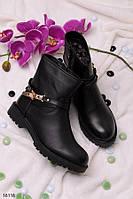 Женские ботинки черные осенние с ремешком эко кожа