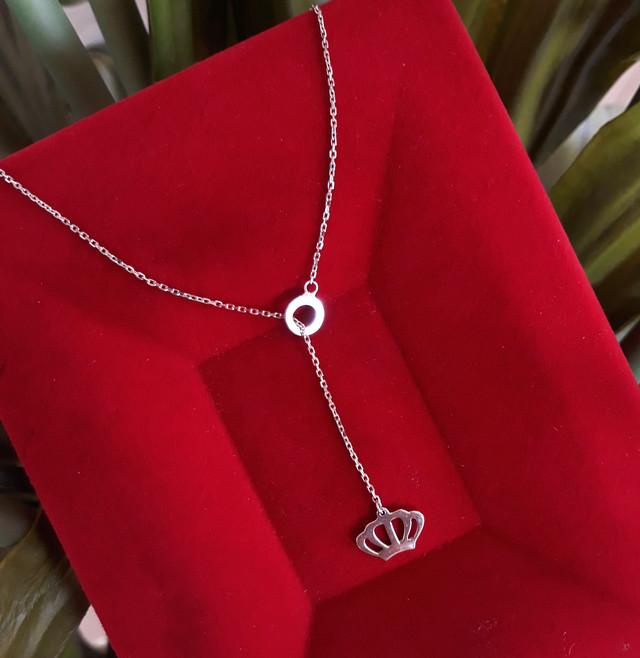 Серебряный кулон с цепочкой Корона Серебряное колье картинка 2