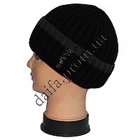 Мужская вязаная шапка на флисе W36 оптом в Одессе.