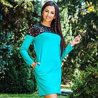 Платье свободного кроя из трикотажа 0221